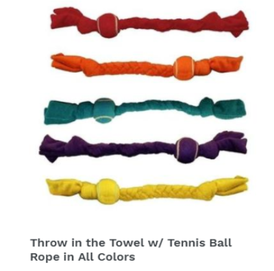 Throw in the Towel w/ Tennis Ball Rope in All Colors