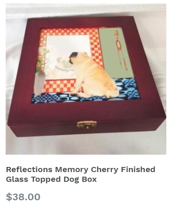 Reflections Memory Cherry Finished Glass Topped Dog Box