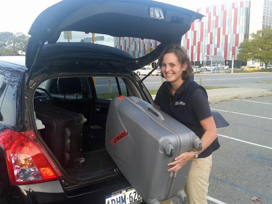 Lauren packing car for Pilbara trip