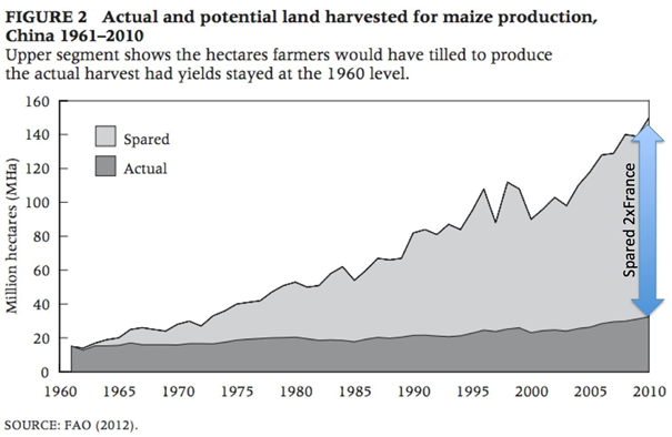 Graph showing how much farming land China has saved since 1960