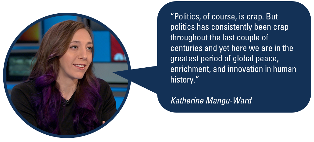 """Politics, of course, is crap. But politics has consistently been crap throughout the last couple of centures and yet here we are in the greatest period of global peace, enrichment, and innovation in human history."" Katherine Mangu-Ward"