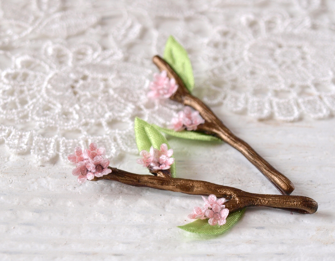 Cherry Sakura Blossom Tiny Twig Hair Pins
