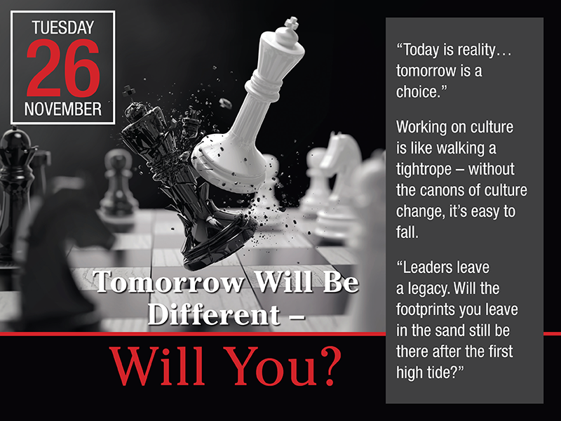 Save the Date: Tomorrow Will Be Different - Will You?