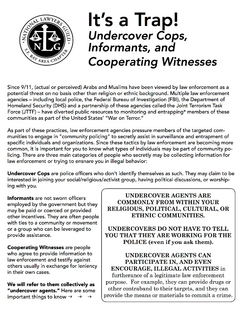 Protect Yourself Against Undercover Cops, Informants and Cooperating Witnesses @  The Eric Quezada Center for Culture and Politics | San Francisco | California | United States