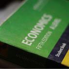 Close up of an economics textbook