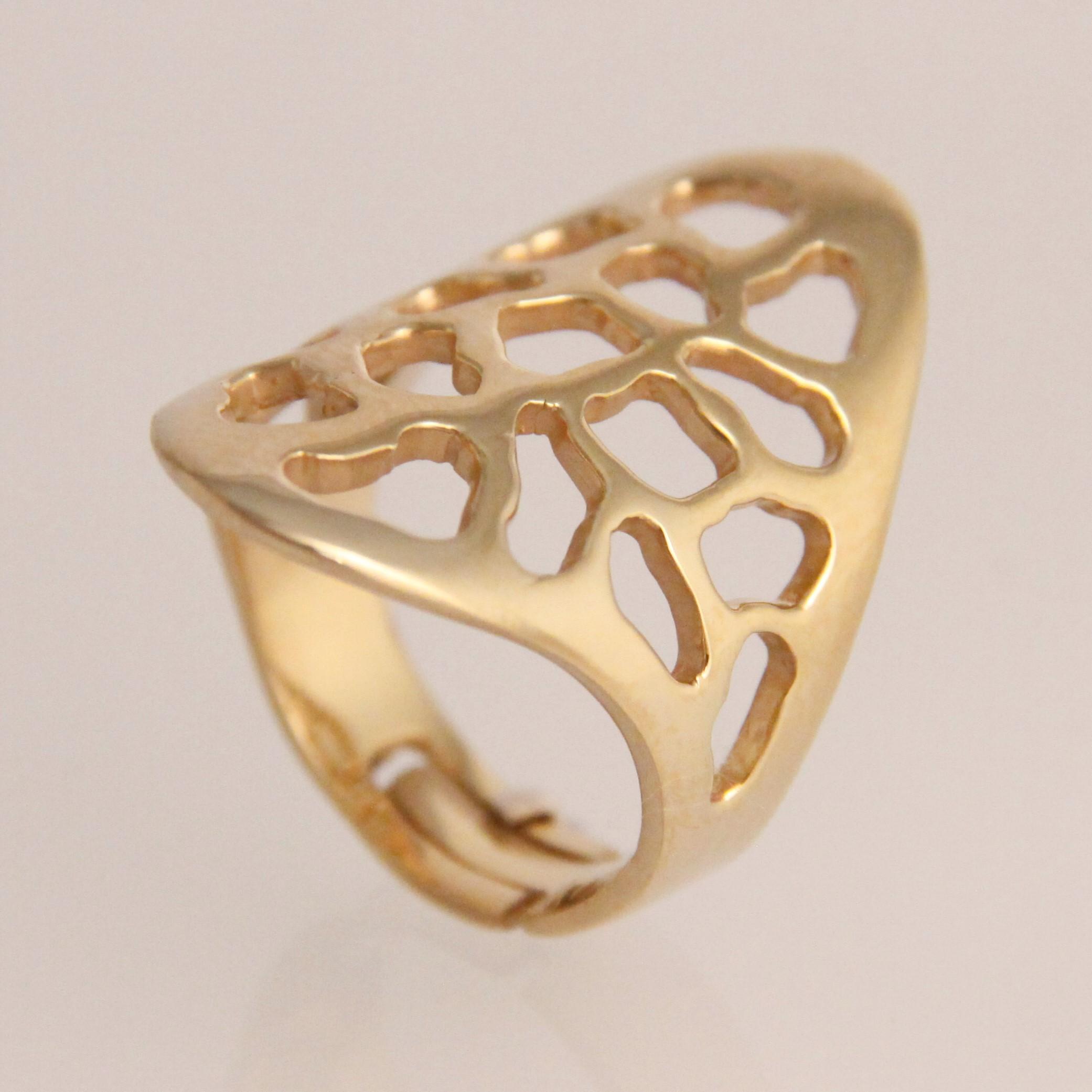 Bronzen Sieraden Jos - opengewerkte ring verguld