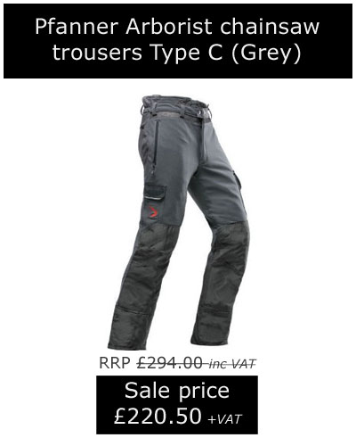 Pfanner Arborist chainsaw trousers, type C, now only £220.50 +VAT!