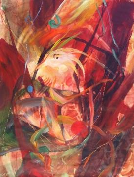 """Rainforest 'i'iwi Bird, by Julie Bernstein Engelmann, 2013, acrylic on paper 24""""H x 18""""W"""