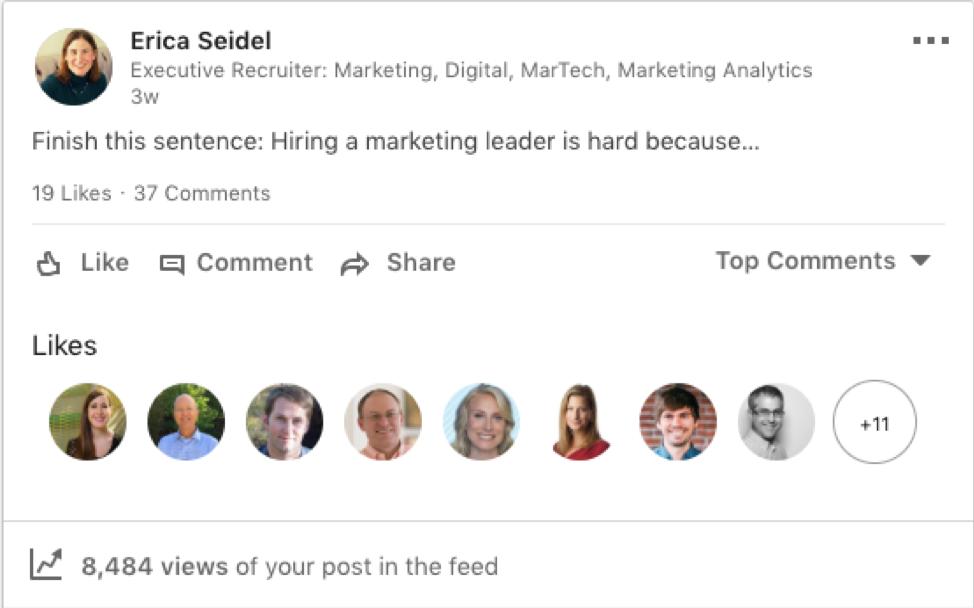 image of LinkedIn conversation