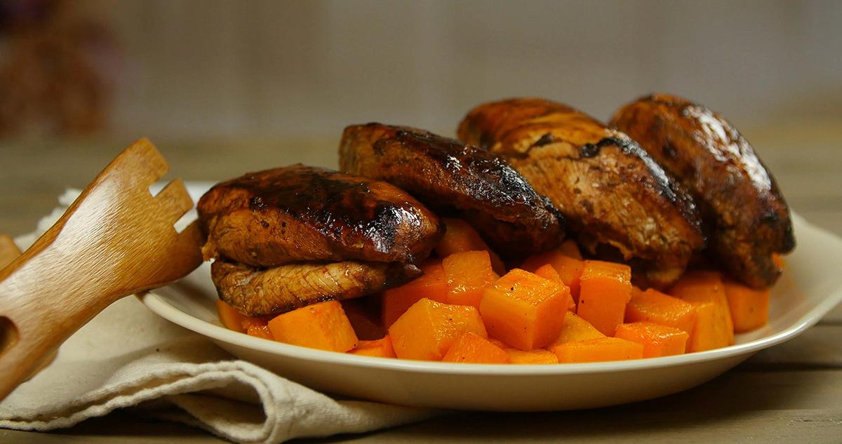 Sriacha-Glazed Chicken w Paprika Butternut Squash