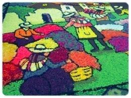 Carpet of Flowers During Semana Santa in Tarma