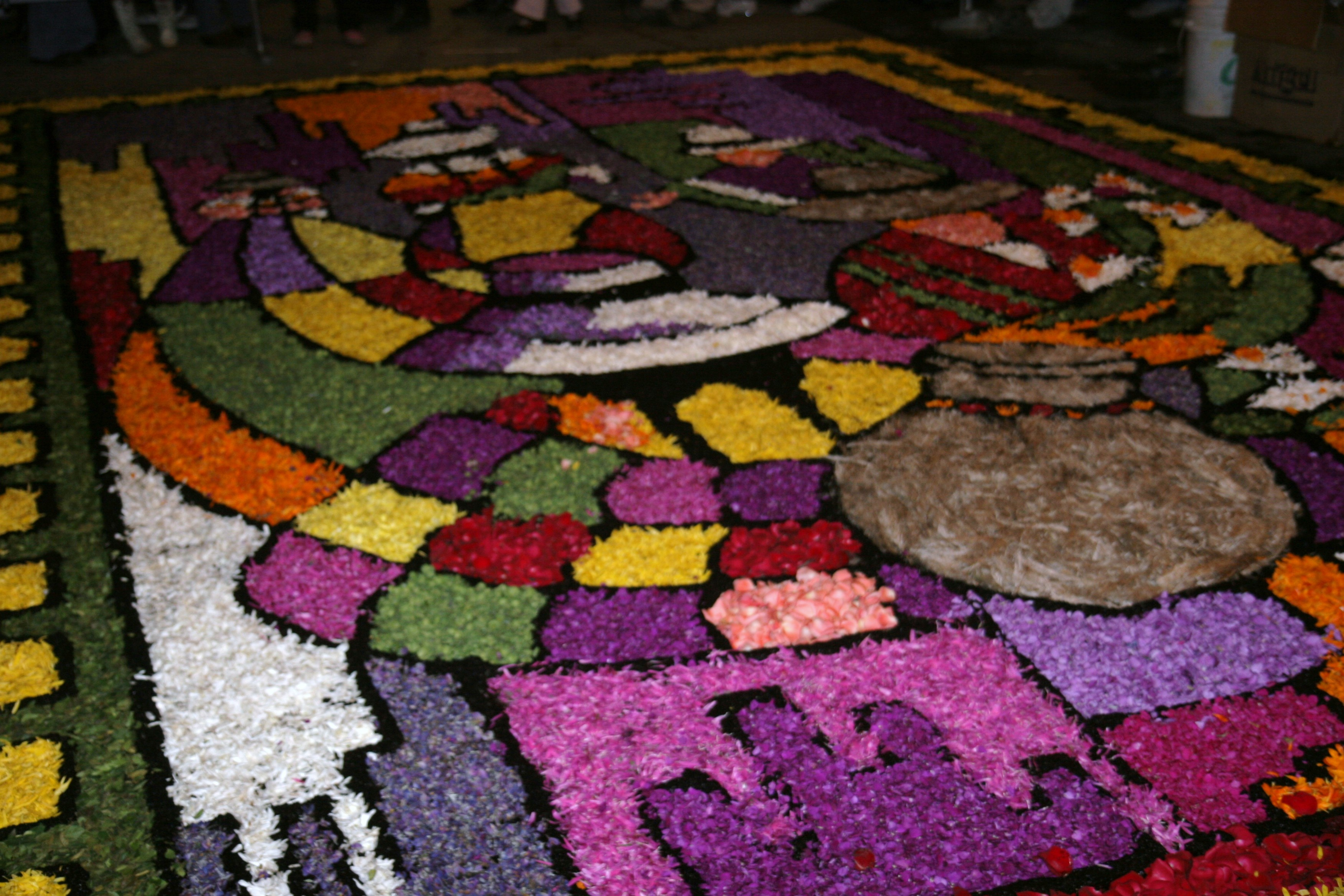 flower carpets in Tarma, Peru for Semana Santa celebrations
