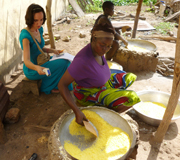 Lady roasting gari from yellow cassava, and researcher Aurelie Bechoff recording temperature