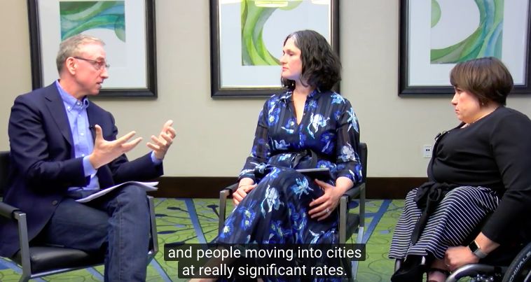 James Thurston discusses digital transformation of cities with Karen Tamley, (Commissioner, Chicago Mayor's Office on People with Disabilities) and Megan Lawrence (Accessibility Evangelist, Microsoft)