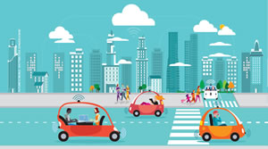 Colorful animated image of electric cars against an urban city skyline