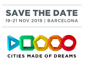 Text save the date, 291-21 Nov 2019 for Smart City Expo Barcelona