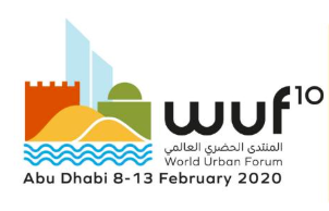 Tenth World Urban Forum logo. Text Abu Dhabi February 8-13