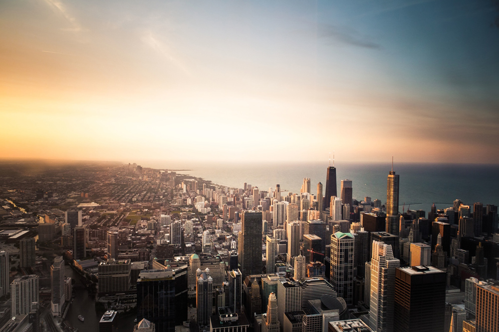 Landscape of Chicago city with a group of buildings as seen from the air.