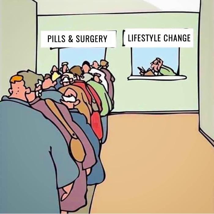 cartoon: pills & surgery vs lifestyle changes