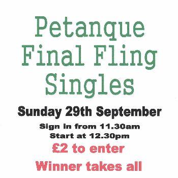 Petanque Final Fling Singles