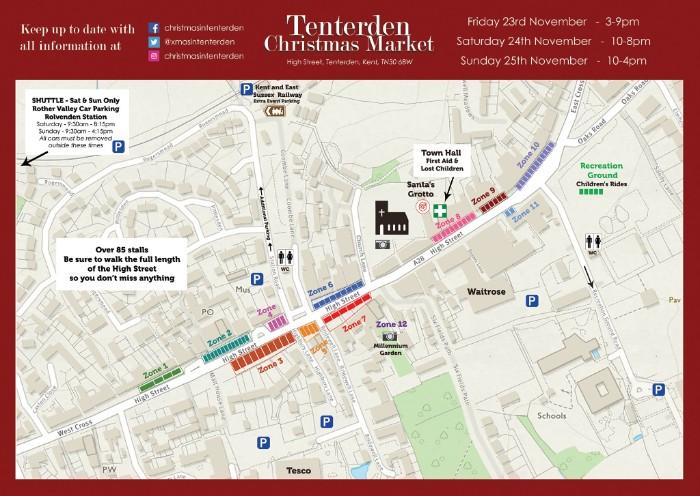 Tenterden Christmas Market stallholder map
