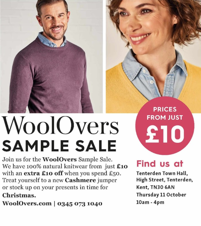 WoolOvers Sale Tenterden Town Hall