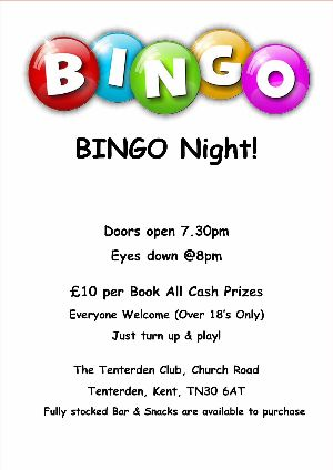 Bingo at Tenterden Club
