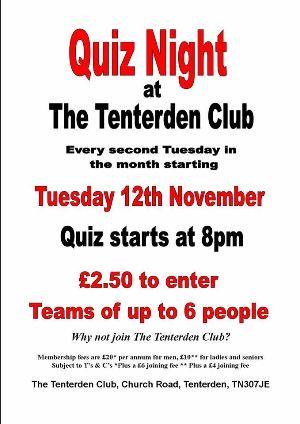 Quiz Night at Tenterden Club