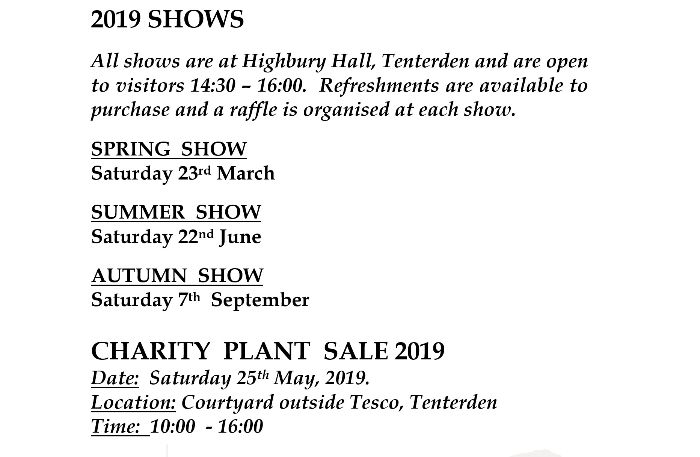 Tenterden Horticultural Society Shows and Charity Plant Sale