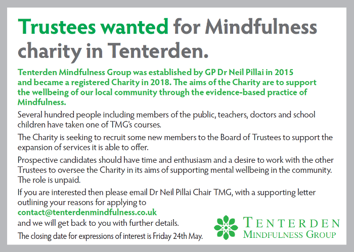 Tenterden Mindfulness Group Trustees wanted