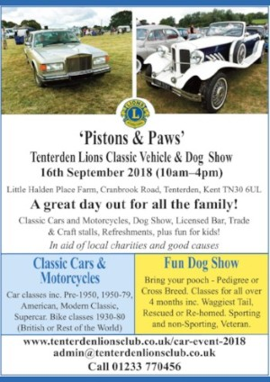 Tenterden Lions Club Classic Vehicles and Dog Show