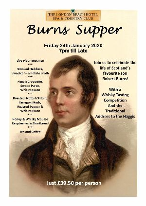 Burns Night at the London Beach Hotel in Tenterden