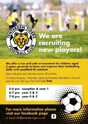 Tenterden Tigers Junior Football Training Resumes