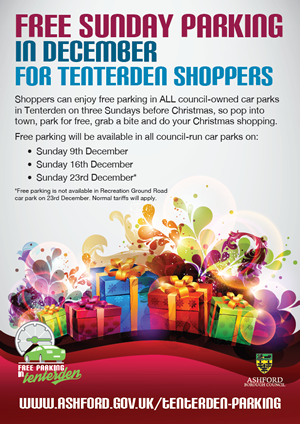 Free Sunday Parking for Christmas Shopping  in Tenterden