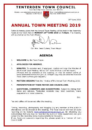 Annual Town Meeting 2019  Tenterden Town Hall