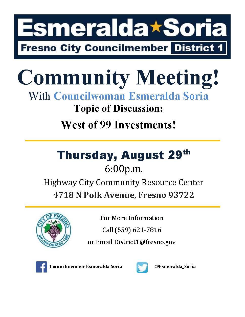 Esmeralda Soria Fresno City Councilmember District 1 Community Meeting Flyer