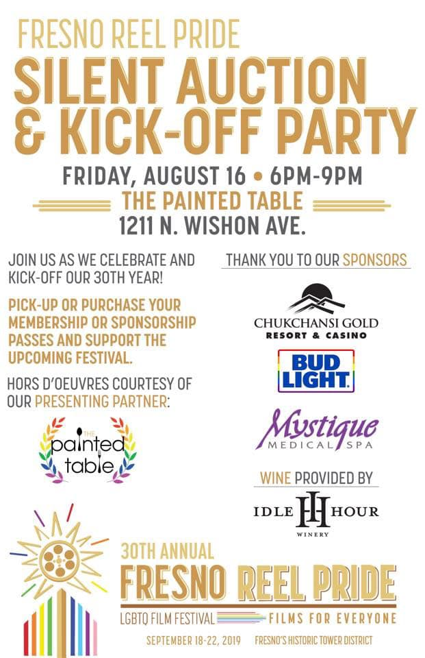 Fresno Reel Pride Silent Auction and Kick off Party Flyer