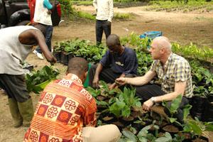 Garry in Ghana unpacking breadfruit liners