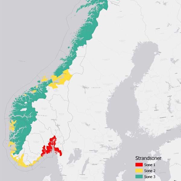Kart over strandsone differensiert