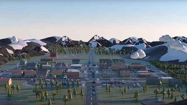 Skjermdump fra filmen viser tettsted