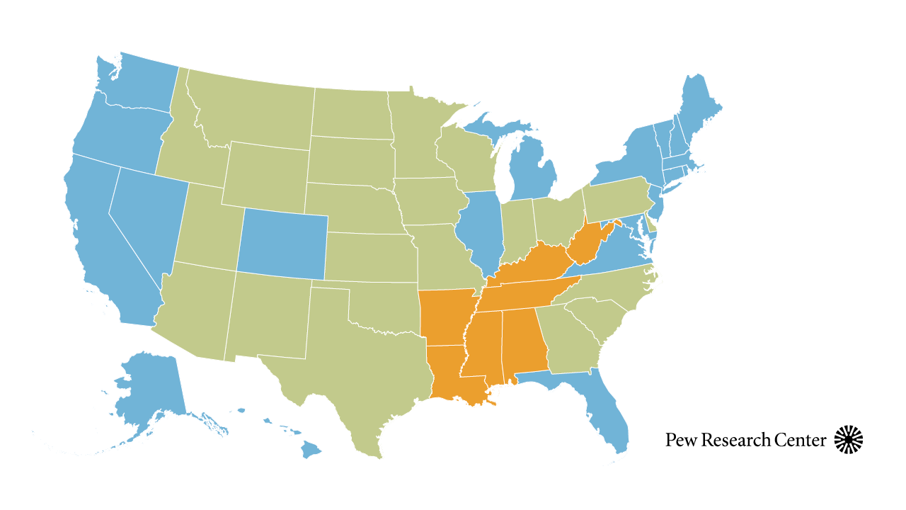 Map showing public opinion about abortion in each U.S. state