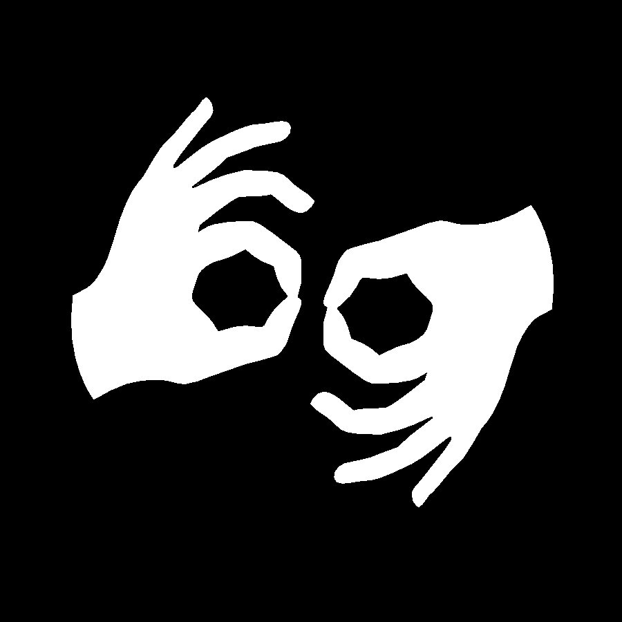 Auslan Symbol: White hands sign Auslan over a black background.