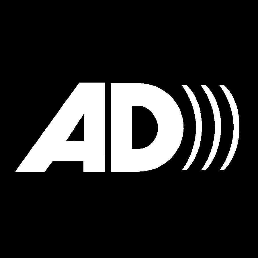 Audio Description Symbol. 'AD is written in bold white letters over a black background.