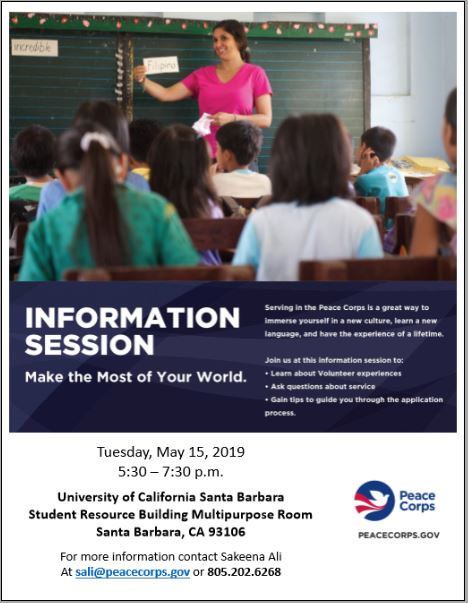 Image: Flyer for Peace Corps Info Session on 5/15/19