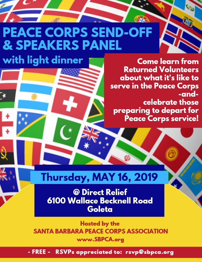Image: Flyer for Peace Corps Send-Off & Speakers Panel, with light dinner