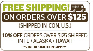 Free shipping on orders over $125!