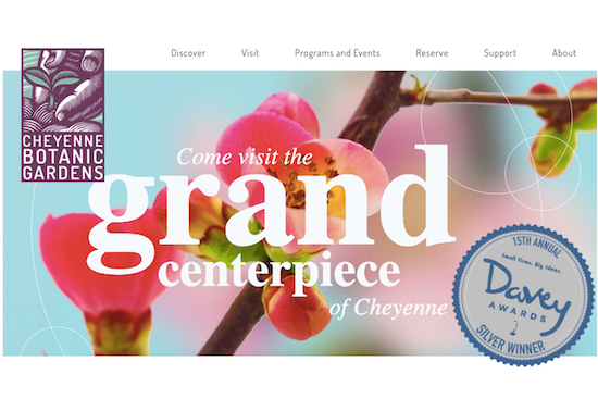 Cheyenne Botanic Gardens website won a Davey Award!