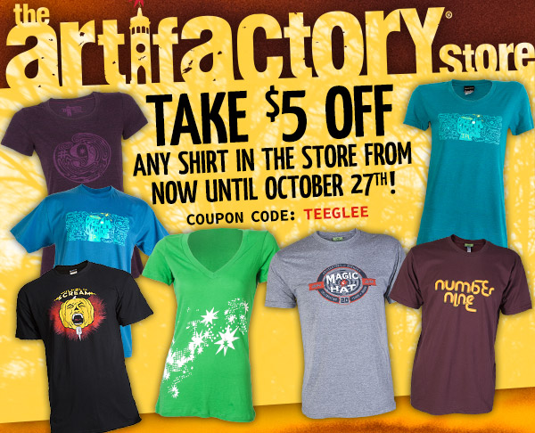 Take $5 off any shirt in the store from now until October 27th!