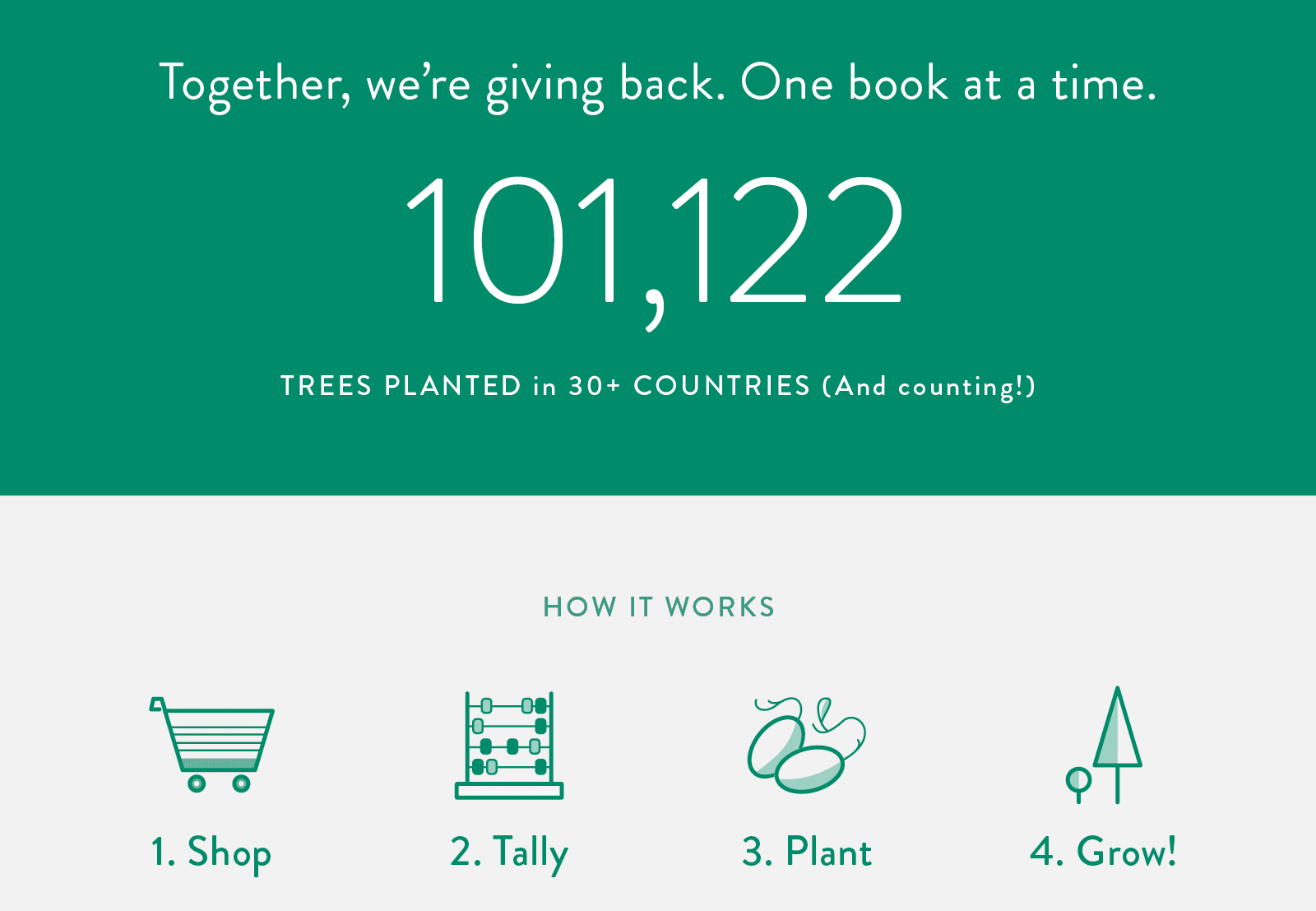 Together, we're giving back. One book at a time.