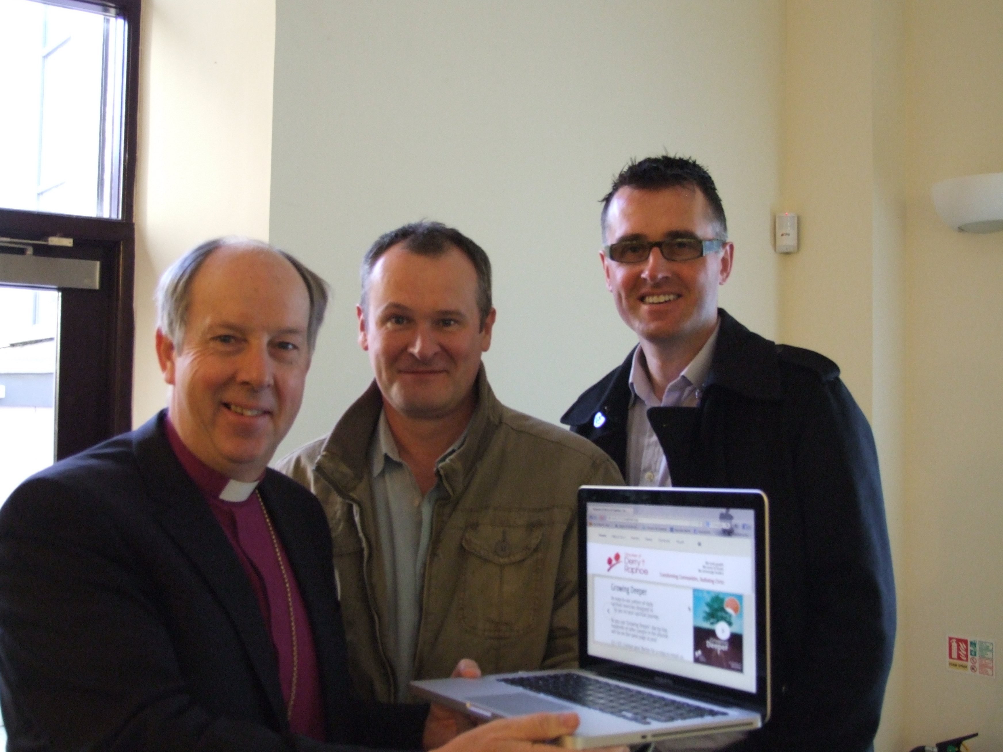 Bishop Ken Good, Mark Stuart (website designer) and Mark Patterson (BBC Radio Foyle)